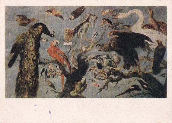 Vintage Snyders (Bird concert) Postcard - 1955. Izogiz Publ.
