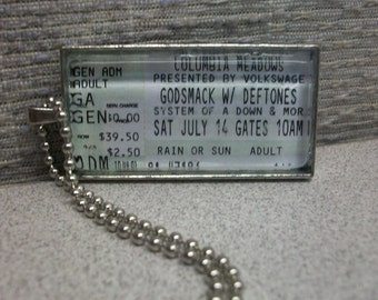 Godsmack, Deftones & System of a Down concert ticket stub necklace or keychain