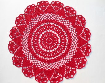 Red crochet doily , round doily , lace ,15 inches