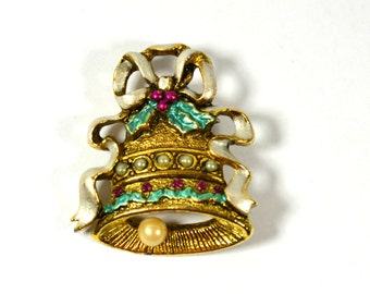 Vintage Holly Berry Enamel, Christmas Bell Brooch, Pin, Holiday Brooch