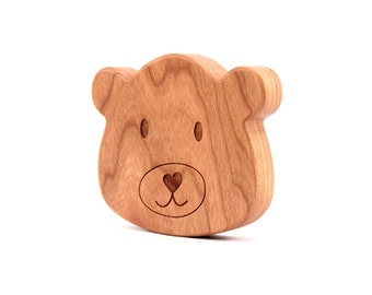 bear RATTLE - all natural, heirloom first baby toy for boy or girl, solid hardwood with organic finish, baby's first teddy