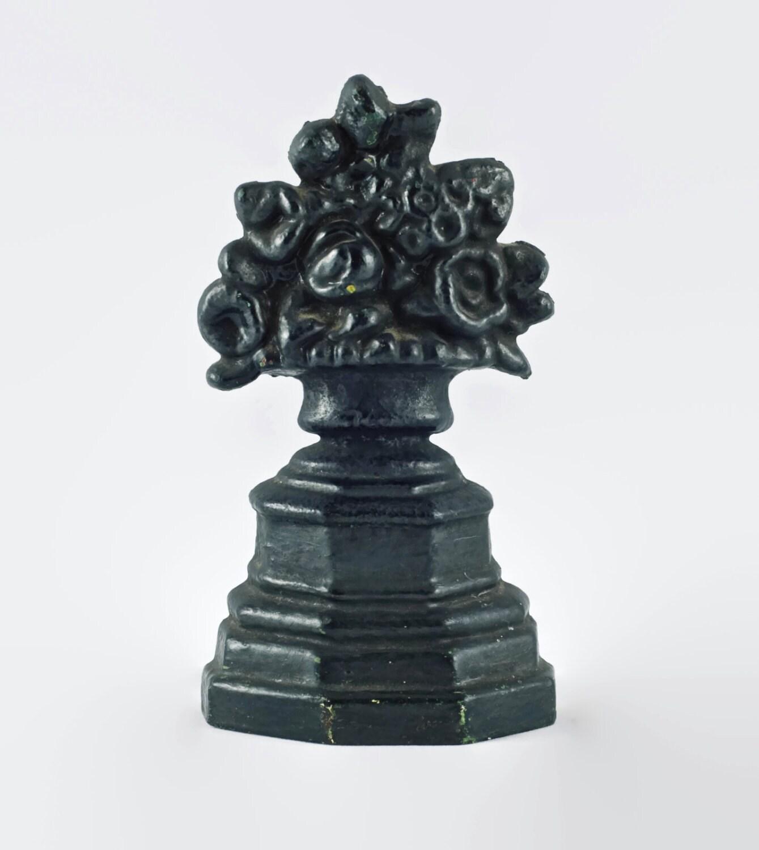 Antique Cast Iron Figural Flower Basket Door Stop