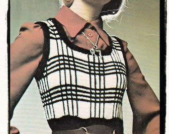 Instant Download PDF Knitting Pattern to make a Womens Short Tank Top Plaid Tartan Effect Sleeveless Vest in 3 Sizes up to 38 inch Bust