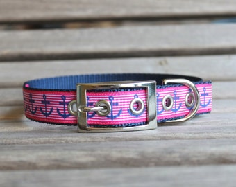 Nautical Dog Collar, Pink Dog Collar, Metal Buckle Collar