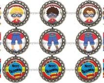 Superhero Christmas Boy Bottle Cap Ornament Digital Collage Sheet Bottle Cap Images (No.1) 1 Inch Circles