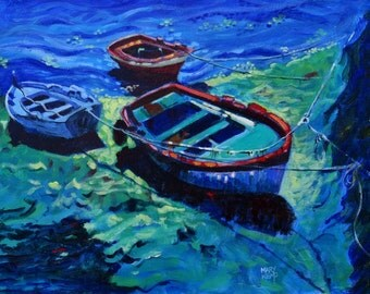"""Acrylic Painting of Boats at Galicia. 16"""" x 12"""". Beach Art. Blue Impressionist Picture. FREE SHIPPING"""