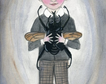 George, The Beetle Boy,  Edwardian Portrait Illustration Art Print, (6x8) Victorian Goth Wall Decor, insect painting