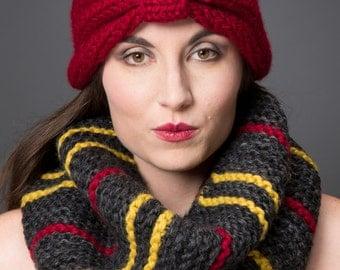 Closeout Sale!! Handknit Fashion Striped Garter Chunky Cowl