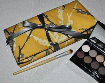 Fabric Brush Roll // Yellow Grey Makeup Brush Storage - Padded Brush Organizer - Beauty Gift for Her Under 40 - Made to Order