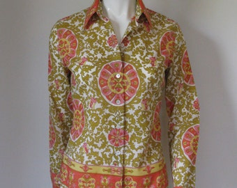 Vintage Long Sleeve Pucci Inspired Pattern Blouse