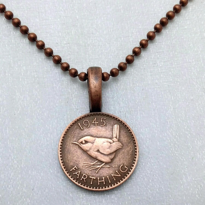coin jewelry vintage wren bird necklace