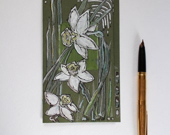 Gently white green daffodils - blank greeting card for any event - art greeting card - silver, green, white spring flowers