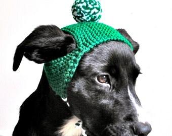Pom Pom Dog Hat - Green and White - Hand Knit Dog Costume - Custom Sizing