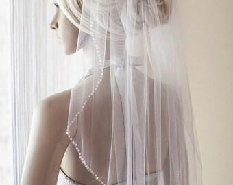 beaded wedding veil, veil with blusher, delicate ivory  beaded veil, silk tulle beaded veil, Fingertip waltz beads veil, white blusher veil