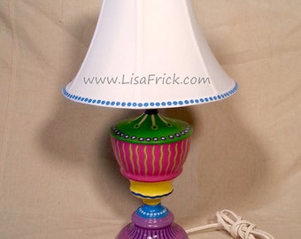 Hand Painted Table Lamp and Shade #013- Fun Funky Whimsical and Crazy- FREE SHIPPING!