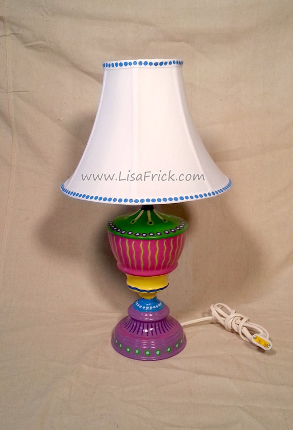 Hand Painted Table Lamp And Shade 013 Fun Funky Whimsical