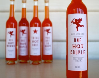 "Anniversary Gift Bottle ""One Hot Couple"" Chilli Infused - Australian Olive Oil, Gift for Couple, Friends Anniversary, Parents Anniversary"