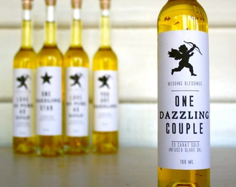 "Wedding Gift Bottle ""One Dazzling Couple"" 23 Carat Gold Infused - Australian Extra Virgin, Cold Pressed Bottled Olive Oil"