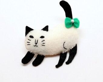 "Felt Cat Pin,Kitten Phone Charm ,Dust Plug,""Stretching Siamese Cat"""