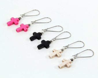 Cross Earrings Howlite Dangle Earrings in Black Ivory or Hot Pink Drop Earrings