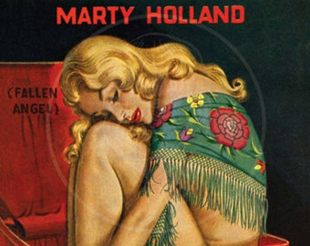 Blonde Baggage - 10x15 Giclée Canvas Print of a Vintage Pulp Paperback Cover