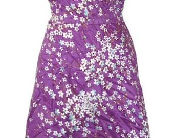 1970s vintage bullet bra 100% cotton purple floral stretch dress size 6 8 small medium