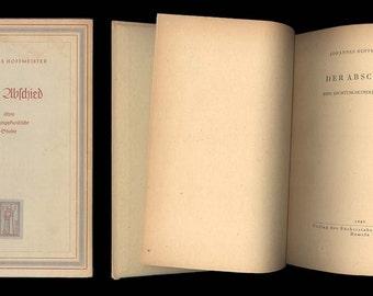 Johannes Hoffmeister Der Abschied eine Dichtungskunliche Studie - Holderlin 1949 Vintage Book German Literary Text