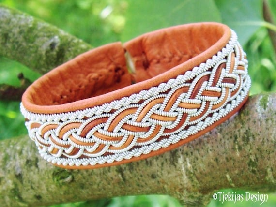 GIMLE Sami Bracelet Handmade Lapland Viking Bracelet in Cognac Brown Reindeer Leather with Pewter and Leather Braid