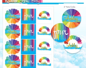 Rainbow Art Cupcake Toppers - Rainbow Party Logos - Melted Crayon Art Party Logos - DIY Printable Birthday Sign - Made to Order