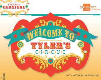 Circus Birthday Backdrop - Party Printable Sign - DIY Print - Original Colors - Vintage Carnival Party Sign