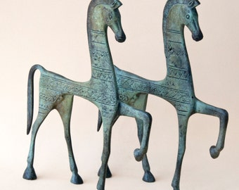 Bronze Greek Horse, Geometric Metal Art Sculpture, Bronze Sculpture, Museum Quality Art, Greek Art, Ancient Greece,Equine Decor
