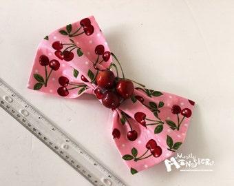 GIANT Hair Bow Pink Cherries hairbow Retro Kawaii Lolita