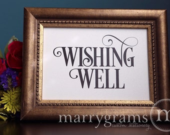 Wishing Well Gifts Table Sign - Wedding Reception Seating Signage - Matching Numbers -Wishes Newlywed Fund Cards and Gifts Sign SS06