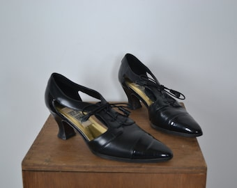 Vintage Open Foot Heels with Cap Toe and Laces size 7 1/2