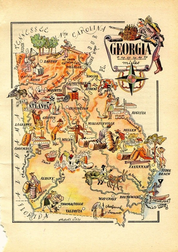 Reduced Price 1946 Vintage Map Of Georgia United States USA