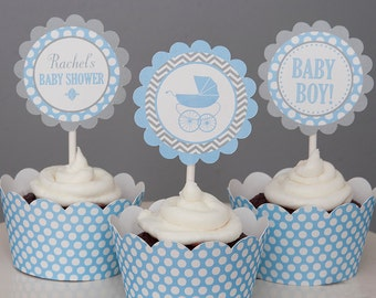 Baby Carriage Shower Cupcake Toppers - Baby Boy - Blue & Grey - Personalized Printable PDF File