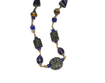 SALE Unique Necklace Cobalt  Royal Blue and Gold Bead OOAK Original Design