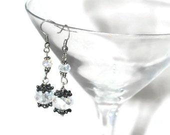 Gifts for her, under 20, Dangle Earrings Black Nickel Crystal Bead Sparkle OOAK Original Design