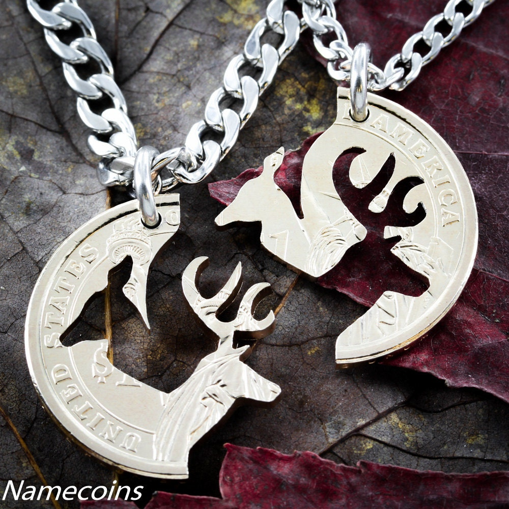 Deer Cut Coin Necklace Couples Interlocking Gold Dollar Hand