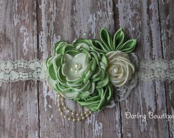 Made to Match Princess Tiana Headband Green and Ivory Rosette Headband