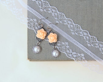 Dangle Earrings, Orange Rose Earrings, Vintage Style, Gift For Wife, Romantic Gift, Small Earrings, Jewelry Under 30, Shabby Chic Jewelry