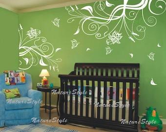 Beautiful Flower with Butterflies-Vinyl Wall Decal wall Sticker Nursery Room decal flower decal children wall decal home decor nursery decor