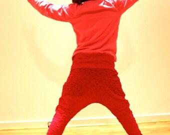 Girls Harem Yoga Pants. Raspberry Swirl Apple and Pear