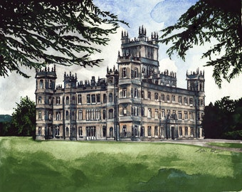 Downton Abbey Highclere Castle Estate - ORIGINAL Watercolor Painting 8 x 10 - PBS Lady Mary Crawley England Britain Masterpiece Theater