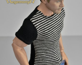 1/6th scale striped T-shirt for: regular size action figures and male fashion dolls