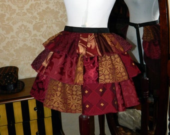 Custom Made Patchwork Ruffle Bustle Overskirt - 3 Layer, Sz. S - Your Choice of Colors
