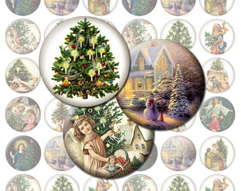 Vintage Christmas Trees / Christmas Bottlecap Images / Printable Digital Collage 1-Inch Circles / Happy Holidays / Snow / Xmas