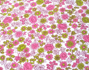"Vintage Fabric -  Bright Pink & Lime - Small Flowers - 36""W  1950's - fabric by the yard - material - textile - sewing supply -Retro"