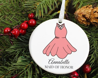 Maid of Honor Dress Ornament Keepsake - Matron Gown Gift - Personalized Porcelain Holiday Wedding Favor - orn244 - Peachwik - Custom Colors