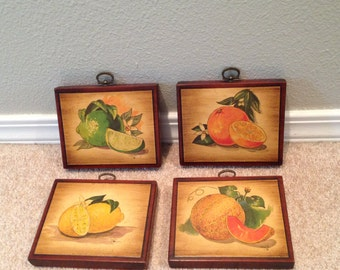 Fruit set of four  picture wall art decoupage